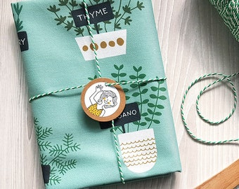 Herbs Kitchen Tea towel mint gray, drill cotton - design by Heleen van den Thillart