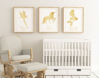 Mystical Creature - Dance with Fairies, Ride a Unicorn, Swim with Mermaids - Children nursery playroom printable - 2 Sizes Instant Download
