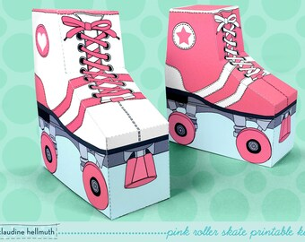 pink roller skates - favor boxes fit gift cards, candy, cookies and more party printable PDF kit - INSTANT download