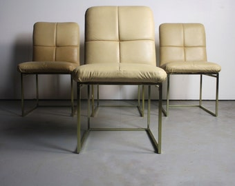 Floating Brass Dining Chairs Attributed To Milo Baughman   A Set Of 4