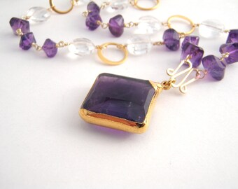 Amethyst And Quartz Pendant Necklace, Rosary Style, Square Amethyst Pendant, Gold, Purple, White, February Birthstone