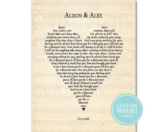 Any song lyrics PRINTABLE - Customized Wedding Gift - Wedding Song - first anniversary gift - heart shaped typography - gift for couple