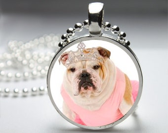 Princess Tiara Bulldog Round Pendant Necklace with Silver Ball or Snake Chain Necklace or Key Ring