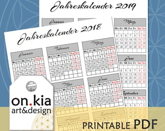 PRINTABLE A5 Jahresübersicht 2018 & 2019 Bullet Journal® Inserts - sofortiger digitaler Download