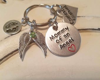 Mommy of an Angel, Daddy of an Angel, Child loss, infant loss, miscarriage, sympathy gift, memorial keychain