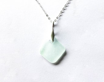 Sea glass 'Hele Bay' seafoam pendant on sterling silver, rare beach glass, sea glass jewellery, seaglass jewelry, mermaid