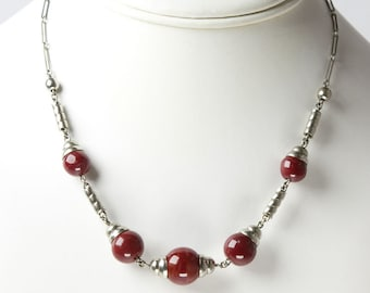 Red Bead & Chrome 1930s Necklace by Jakob Bengel