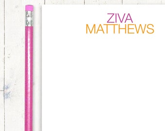 personalized notePAD - COLORFUL NAME - stationery - stationary - choose colors