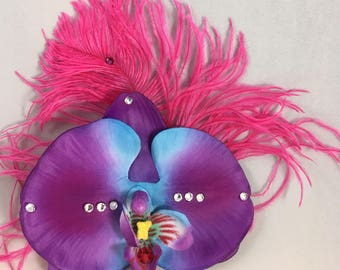 Orchid Blue and Purple Hair Fascinator with Ostrich Feather Hair Clip/Pin Up Hair Accessory/Rockabilly/Hair Flower