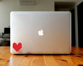 8 bit Heart sticker, decal, your choice of color and size