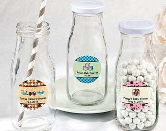 24  Personalized Baby Shower Vintage Style Milk Bottles - Set of 24