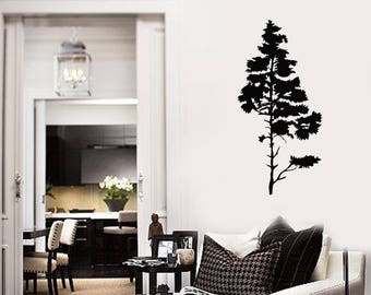 Pine Tree Vinyl Wall Decal Nature Room Art Decoration Home Decor Idea Stickers Mural (#2655di)