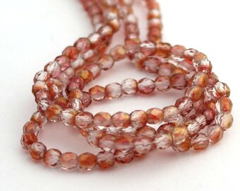 Picasso Half Pink - Gold 3mm Facet Round Czech Glass Fire Polished Beads 50pc #1122