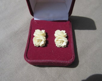 Carved Bone Double Roses Post Earrings