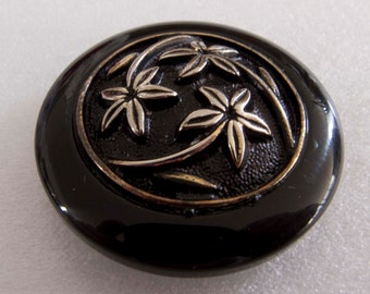 Large Vintage Black Button with Inset Floral Decoration - 38mm