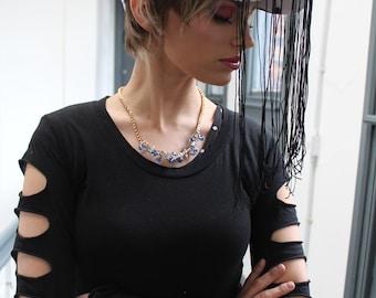 Alternative punk grunge long sleeve cut out black goth top