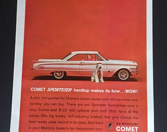 1963 Mercury Comet Sportster Top Makes Its Bow Wow Dog Print Ad
