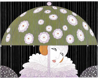 Erte 1982 -Art Deco Woman w- Ruffled Collar Under Flower Umbrella in Spring Rain MATTED Print Standard Size Matted Picture Ready to Frame