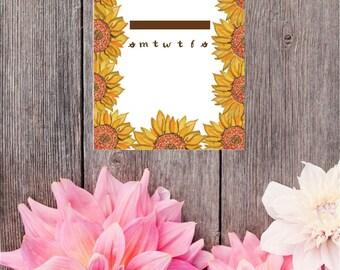 Sunflower Calendar Digital Download/ Printable