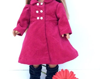 18 Inch Doll Dark Pink Coat, Fuchsia Corduroy Doll Coat, 18 Inch Doll Clothes, Spring or Winter Doll Clothes