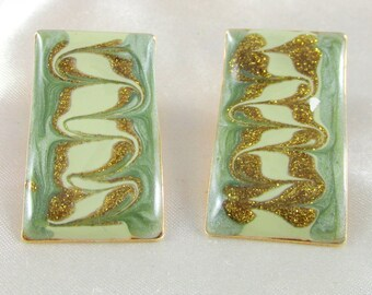 Vintage Green Enamel Rectangle Pierced Earrings