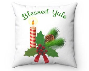 Elegant Yule Holiday Decorative Pillow Winter Solstice Pagan Home Decor