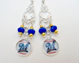 Milwaukee Brewers Earrings, Milwaukee Brewers Jewelry, Baseball Jewelry, Brewers Accessories, Milwaukee Brewers, Brewers Fan Wear, Brewers