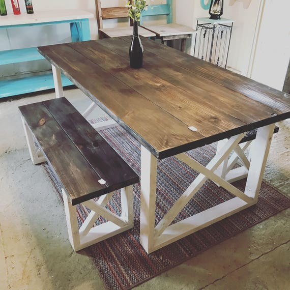 Kitchen Table With Bench Rustic Kitchen Tables And Table: Rustic Farmhouse Table With Benches With Dark Walnut Top And