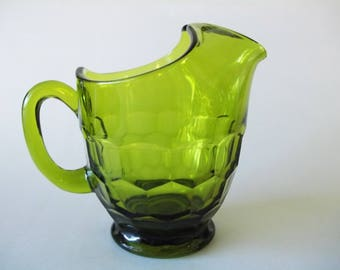 Viking Glass Georgian Green Water Pitcher, Mid-Century, West Virginia, USA 1950s-1960s