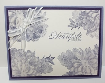 Handmade Heartfelt Thoughts Card, Feel Better, Flowers