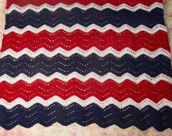 Throw blanket, Crochet blanket, Lap blanket, Gift for Her, Patriotic, Knit blanket, Home Decor, Housewarming gift, Wedding gift idea