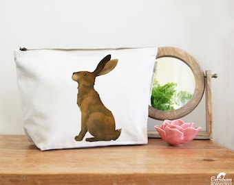 Hare Canvas Wash Bag, Large Zipper Pouch, Makeup Bag, Toiletry Bag, Accessory Bag, Hare Gift