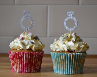 Silver ring cupcake toppers/ engagement cupcake toppers/ silver glitter wedding toppers/ pack of 6