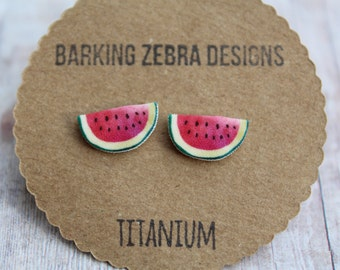 Watermelon Earrings | Watermelon Studs | Watermelon Jewelry | Fruit Earrings | Food Earrings | Food Jewelry | Titanium | Nickel Free