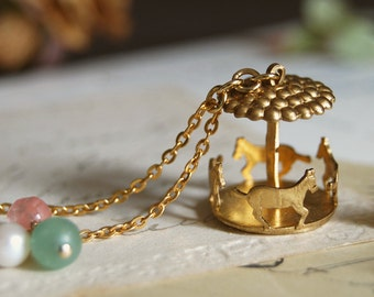 Carousel Necklace Merry Go Round Necklace Circus Jewelry Carnival Jewelry Gold Raw Brass Carousel necklace Vintage Style Christmas Gift