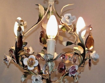 French Rose Bud Tole Ware Cage Design 3 Arm Crystal Chandelier