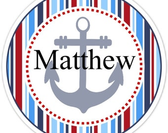 Nautical Birthday Labels, Personalized Ocean Stickers, Birthday Decoration, Nautical Favors, Beach Party Favors
