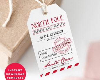 Printable Santa Gift Tags Template - Gift From Santa Tag - Christmas Gift Tags - Instant Download