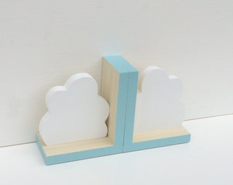 Cloud Bookends, Aqua Blue, Cloud Decor,  Cloud Nursery, Wooden Cloud, Cloud, Children's Bookends, Cloud Baby, Kids Cloud Decor, Eco-friendly