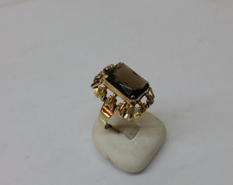 Ring gold 333 stocking smoky quartz 60s GR122