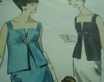 Vintage 1960's Vogue 6200 Special Design Two Piece Evening Dress Sewing Pattern, Size 12 Bust 32