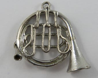 Sterling Vintage French Horn Charm FREE SHIP