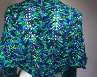 Hank knit shawl, hand knit wrap, multicolor shawl, multicolor wrap, lacy shawl, lacy wrap
