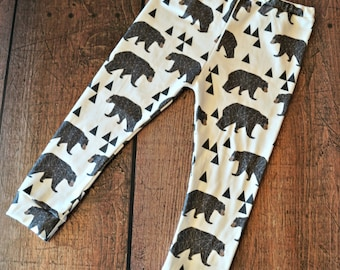 Baby Children Handmade Organic Jersey Knit  Bear Hiking Leggings Pants Newborn to 4T