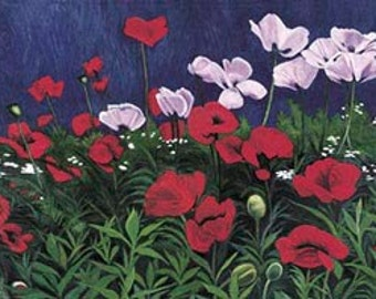 Poppies (Floral Landscape) Painting - Museum Quality Limited Edition Prints on Paper with Archival Inks