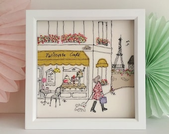 Paris Cafe textile art by Lillyblossom. Free-motion machine embroidery French style scene cafe puppy Eiffel Tower patisserie cake shop