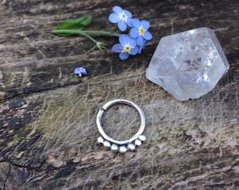16 gauge Beaded Sterling Silver Septum Ring / Handmade Septum Ring / Septum Jewelery / Sterling Silver .925 Septum Ring