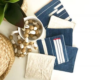 Mud Cloth Coasters | Set of 6 Indigo Mud Cloth Drink Coasters | African Mud Cloth Coasters