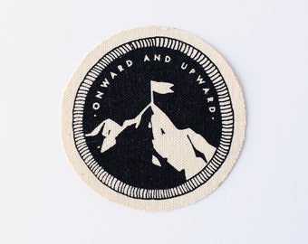 Onward and Upward Patch // mountain peak, adventure accessory, screen printed, denim, canvas, summit, achievement, flag
