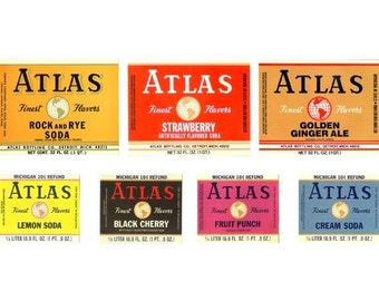 Atlas Vintage Soda Labels